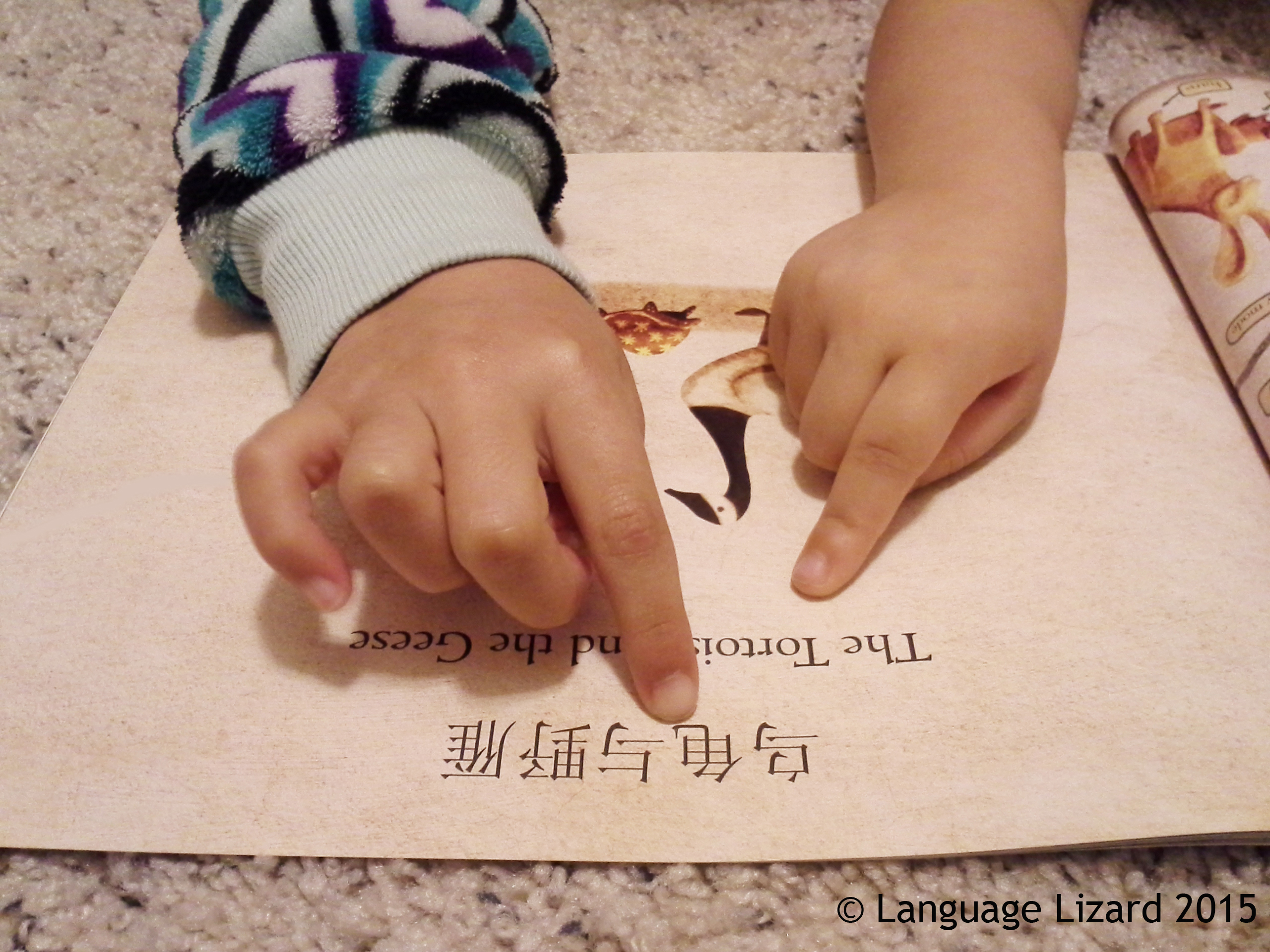 Kids pointing to sentence printed in two languages