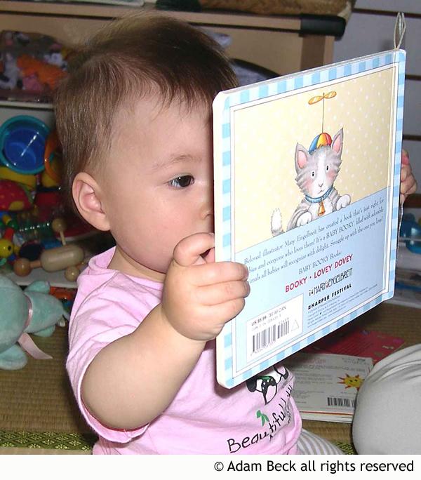 baby reading bilingual book