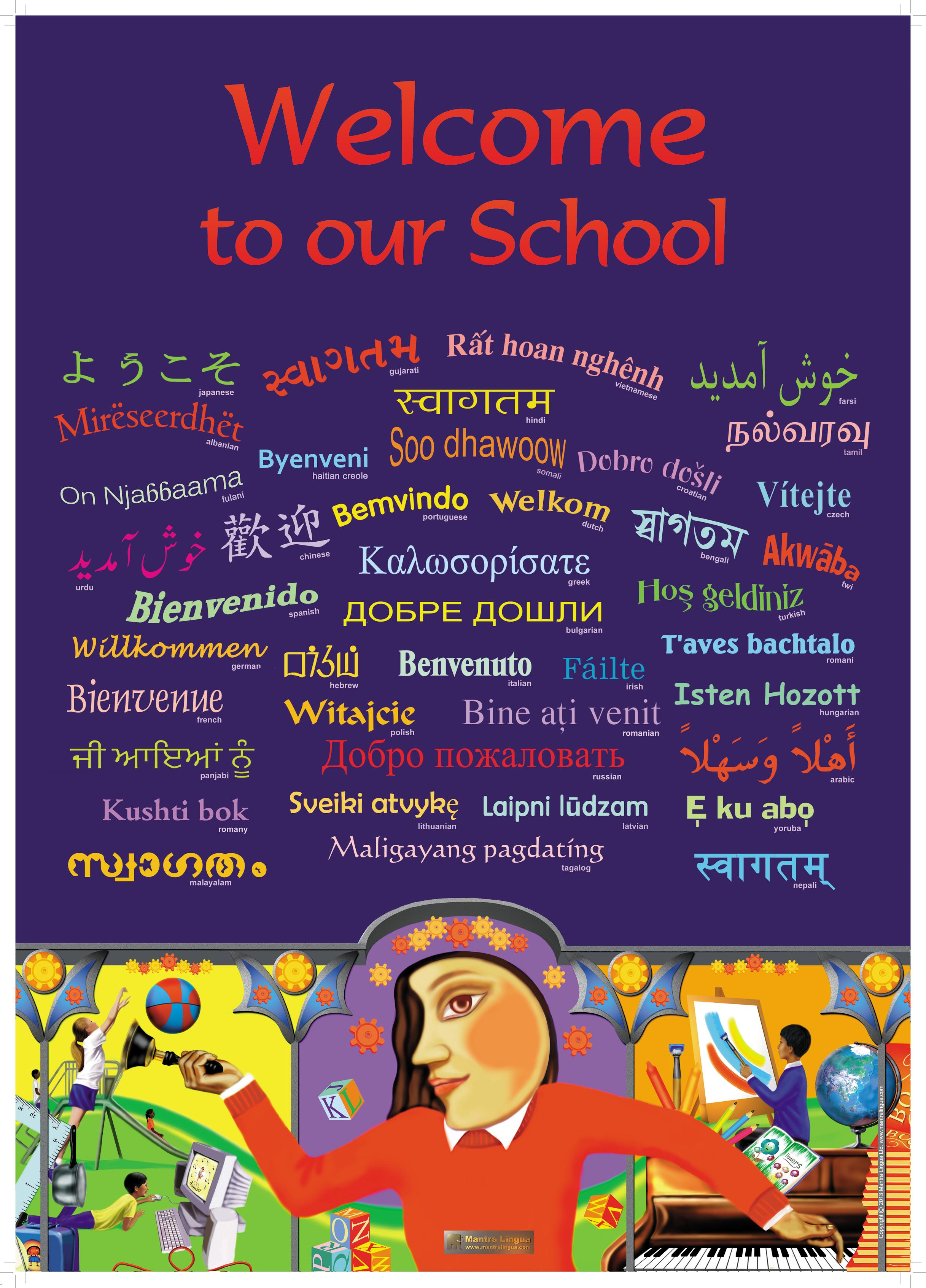 Welcome classroom poster in many languages