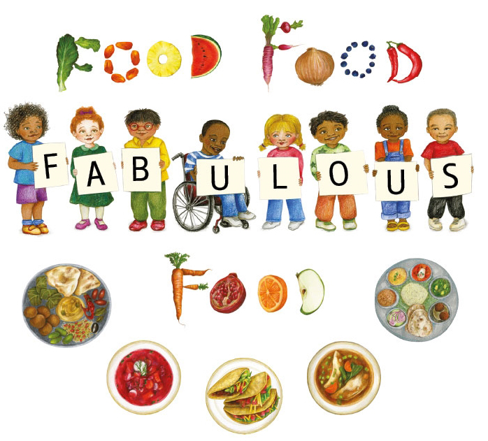 cover of multicultural children's book about food