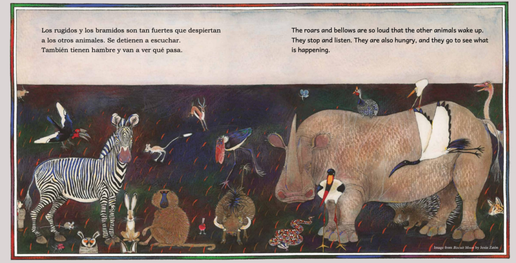 Page from bilingual children's book The Biscuit Moon